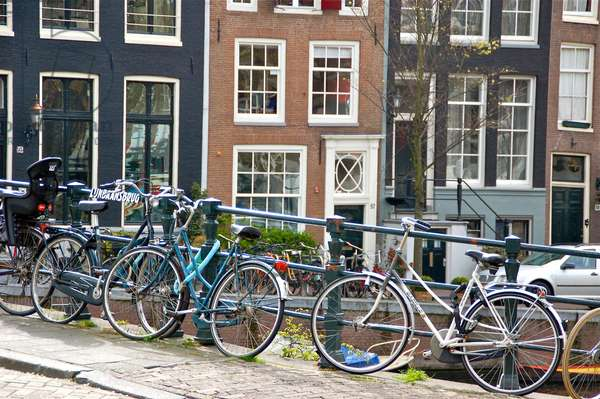 Bikes on Lijnbaansbrug Bridge, Amsterdam, The Netherlands (photo)