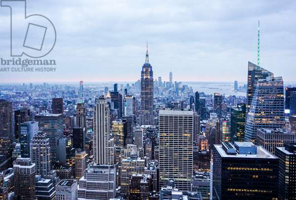 Empire State Building and the Manhattan skyline at dusk, Top of the Rock Observation Tower, New York City (photo)