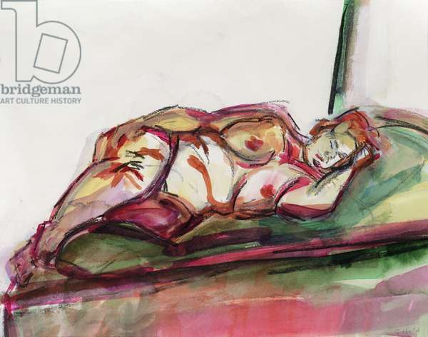 Fat Sleeping Nude, 2015, (watercolour)