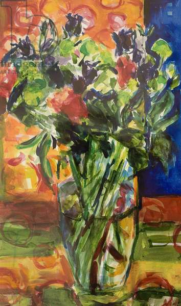 Pattern and Flowers (oil on canvas)