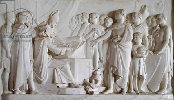 A rectangular carved relief of the signing of the Magna Carta, 1834-1840 (marble)