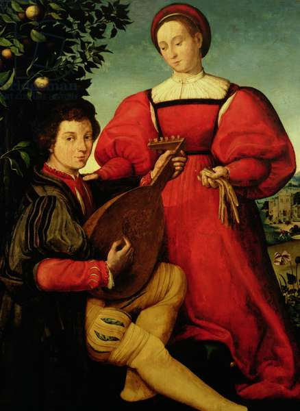 Venetian Lady and Lute Player (oil on canvas)