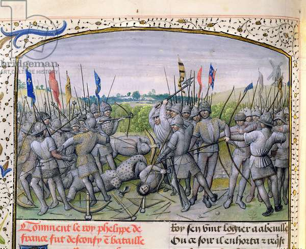 Ms 659 f.255 r. The Battle of Crecy in 1346, 1477 (vellum)