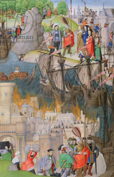 Ms 311 f.122 v. Scenes from the Aeneid, by Virgil, 1472-73 (vellum)