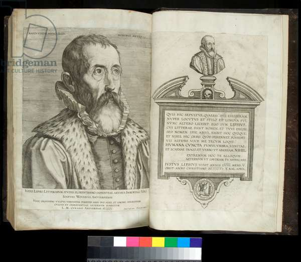 Ms 344. Livy, Ab Urbe Condita, 1-10, 21-30, 31-40, and Periochae, ff.359v-360r. Portrait of Justus Lipius and engraving of his tomb, 17th Century (parchment)