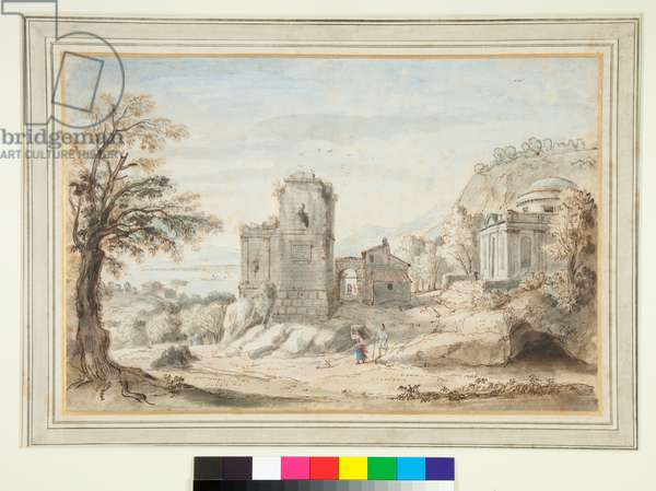 Landscape with Ruins and a Temple (pen and brown ink and coloured washes)