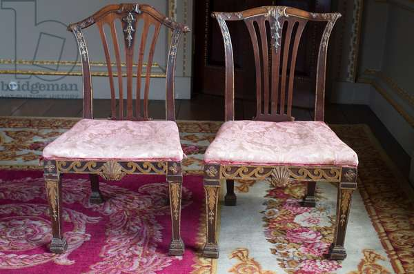 Two George II pattern chairs (mahogany and parcel-gilt)