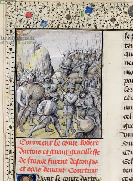 Ms 659 f.137 r. The Flemish defeat the French Army at the Battle of the Golden Spurs near Courtrai in 1302, 1477 (vellum)