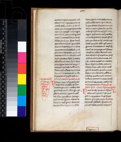 Ms 165. Johannes Belethus, Summa de ecclesiasticis officiis, f.13v. Example of a gothic bookhand with rubrics and marginal corrections in red, 14th Century (parchment)