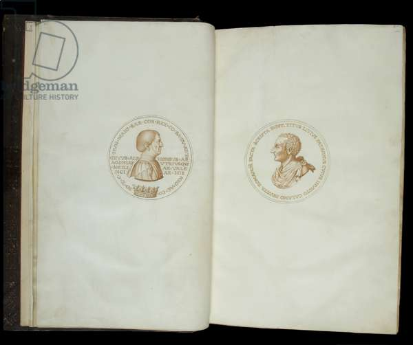 Ms 344. Livy, Ab Urbe Condita, 1-10, 21-30, 31-40, and Periochae, ff.vii verso - viii recto. Pen and sepia drawings of two medallions portraying King Alfonso I Naples and Livy, c.1717 (parchment)