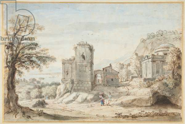 Landscape with Ruins and a Temple, 1716 (pen, brown ink & coloured washes on paper)