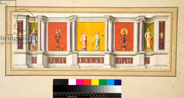 A long wall with seven panels with a narrow frieze below (black chalk, some with pen and brown ink. coloured with w/c)
