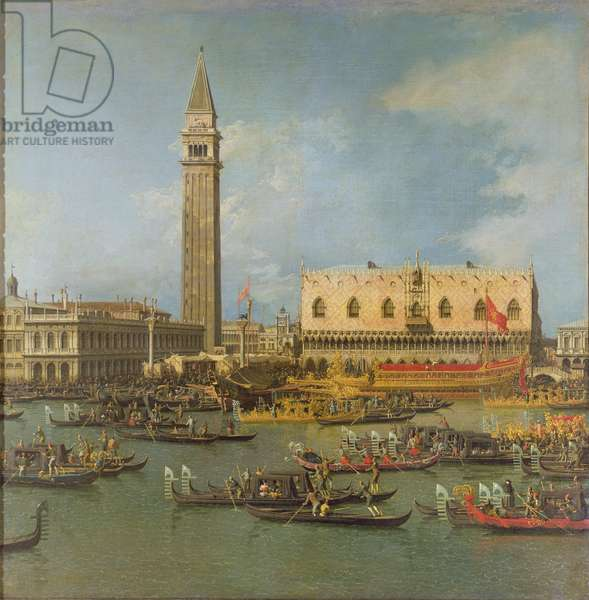 View of the Palace of St Mark, Venice, with preparations for the Doge's Wedding (oil on canvas)