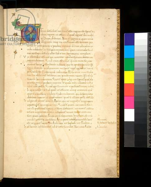 Ms 376. Cicero, Orator ad M. Brutum, and Brutus, f.1r. Illuminated initial [C] in purple with blue infill with acanthus motifs in green, 15th Century (paper)