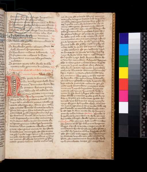 Ms 148. Gregory the Great, Dialogi in Italian transl. by Domenico Cavalca, f.2r Decorated letter [N] in red ink with pen-flourishing in brown ink, 14th Century (paper)