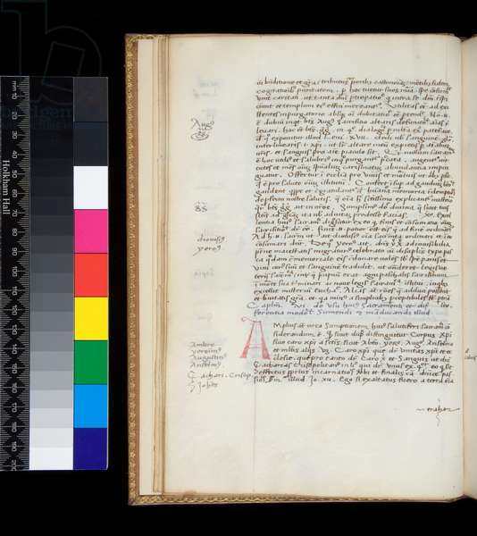 Ms 169. Johannes de Turrecremata, Tractatus de sacramento Eucharistiae, f.10v. Humanistic bookhand with some cursive features, with rubrics and marginalia in dark grey ink, and  initial [A] in red, 15th Century (parchment)