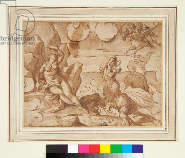 Perseus Rescuing Andromeda, 1625-1650 (pen and brown ink and brown wash)