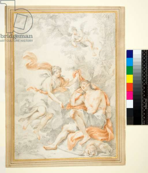 Diana and Endymion, (red and black chalk on parchment)