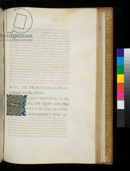 Ms 389. Cicero, Orationes, and other works, f.180r. Illuminated initial [S] on a blue ground with interlaced strapwork decoration of green and purple, Padua, 15th Century, third quarter, before 1461 (parchment)