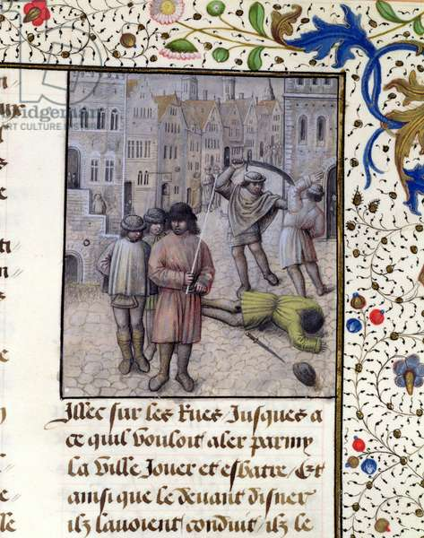 Ms 659 fol.221r Jacob van Artevelde leads a rebellion in Ghent against the counts of Flanders in 1340, 1477 (vellum)