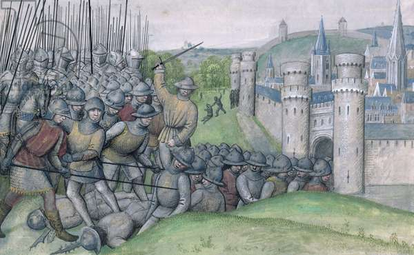 Ms 659 f.282r Louis, Count of Flanders and the town of Bruges are defeated by Filips van Artefelde and the people of Ghent at the Battle of Bevenhoutsveld in 1382, 1477 (vellum)