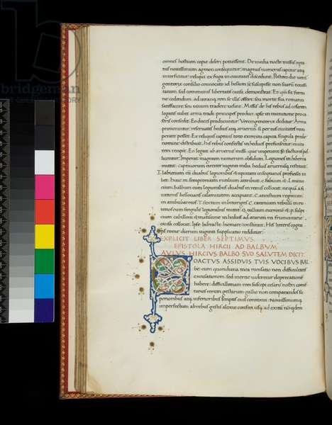 Ms 341. Caesar, Opera, f.69v. Illuminated initial [C] in gold with white vine-stem decoration, 1475-1480 (parchment)