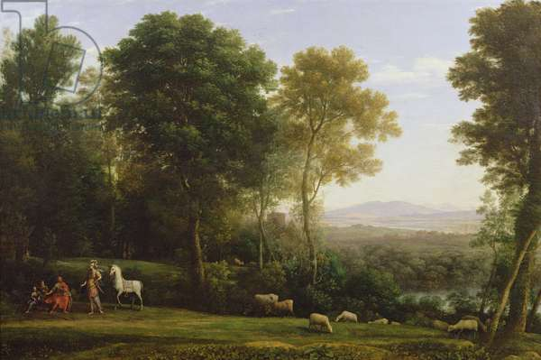Landscape with Erminia in Discourse with the Old Man and his Sons (oil on canvas)