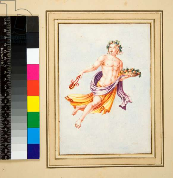Male Figure with garland of leaves (black chalk, some with pen and brown ink. coloured with w/c)
