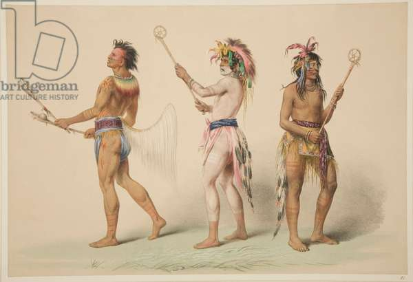 Illustration of Lacrosse Players, from 'Illustrations of the Manners, Customs & Conditions of the North American Indians', London, 1845 (hand-coloured engraving)