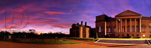 Principal or south facade of Holkham Hall, Norfolk at sunset (photo)