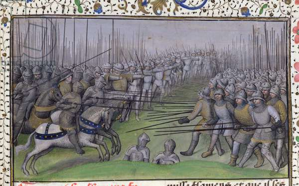 Ms 659 f.284r The French beating the Flemish at Westrozebeke in 1382, 1477 (vellum)