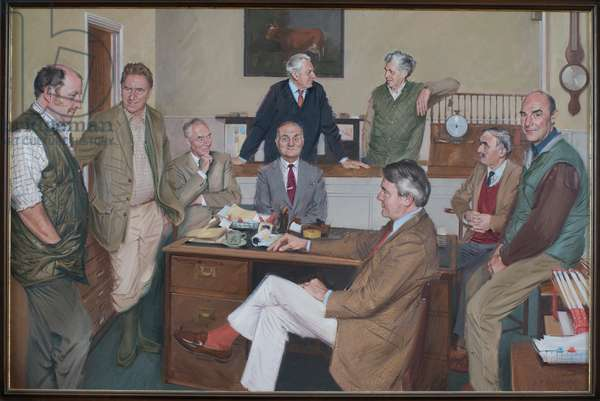 Holkham Heads of Department with the 7th Earl at the Centre, 1993 (oil on canvas)