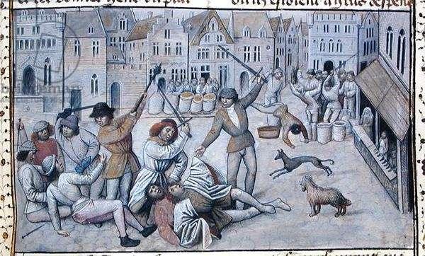 Ms 659 f.226 r. The Weavers of Ghent Rebel Against Jacob van Artefelde in 1345, 1477 (vellum)