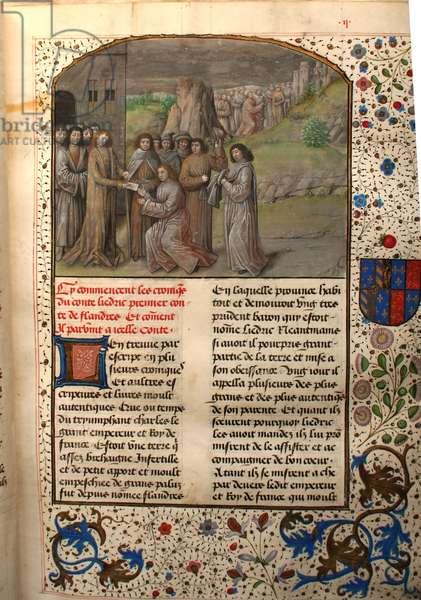 Ms 659 fol.2r Charlemagne Names the First Count of Flanders, 1477 (vellum)