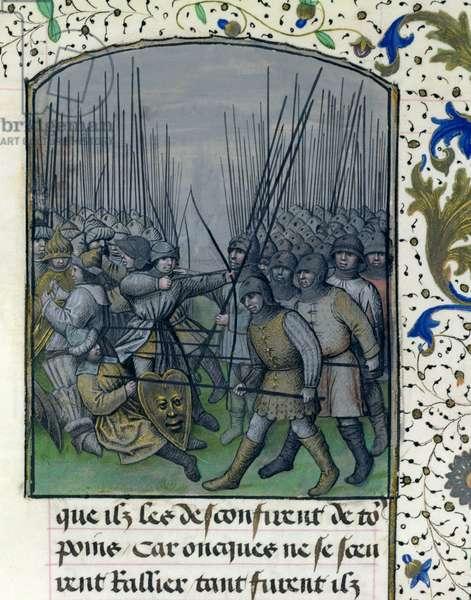 Ms 659 f.245 r. The Battle of Granada in 1343, 1477 (vellum)