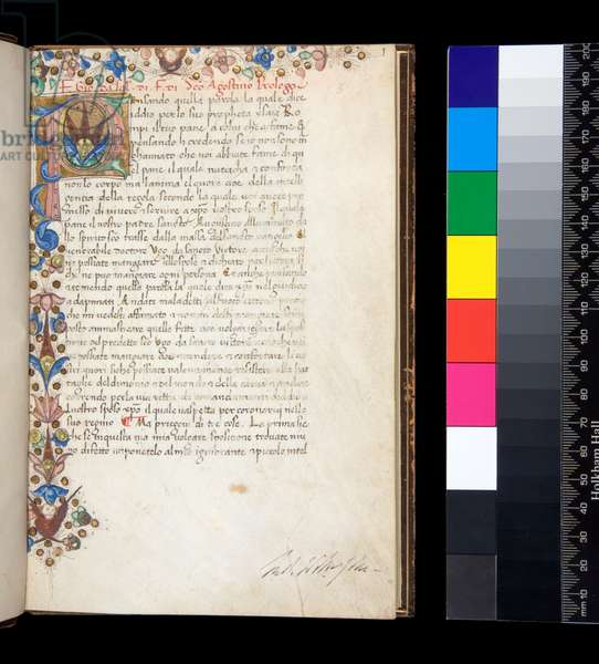 Ms 140. Augustine, Regula with commentary of Hugh of St Victor, in Italian transl. by Giovanni da Salerno, f.1r. Illuminated initial [P] and floral border, 15th Century (parchment)