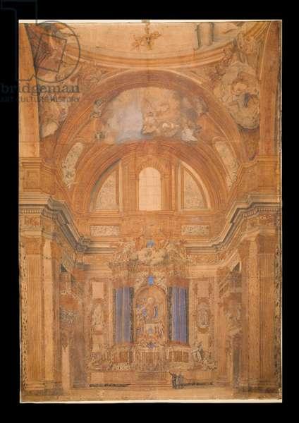 View of the Interior of the Gesu, Rome, 1716 (watercolour)