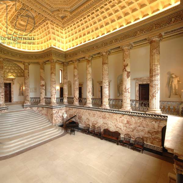 Interior view of the Marble Hall, Holkham Hall, Norfolk (photo)