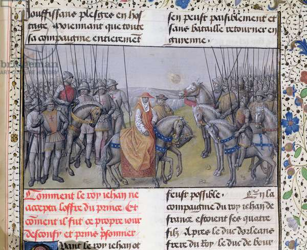 Ms 659 f.267 r. John II the Good taken prisoner by the English at the Battle of Poitiers, 1356 (vellum)