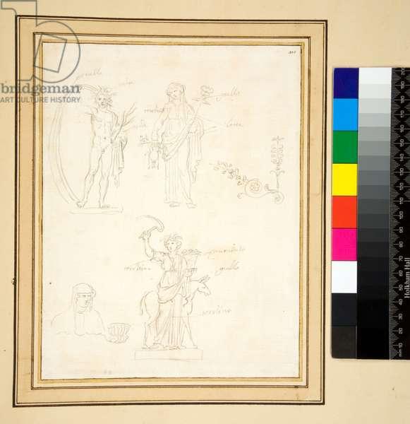 Sketch of three figures (pencil)