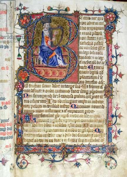 Ms 26 fol.7r. Psalm 1, David harping, from the Ramsey Abbey Psalter, c.1380 (vellum)