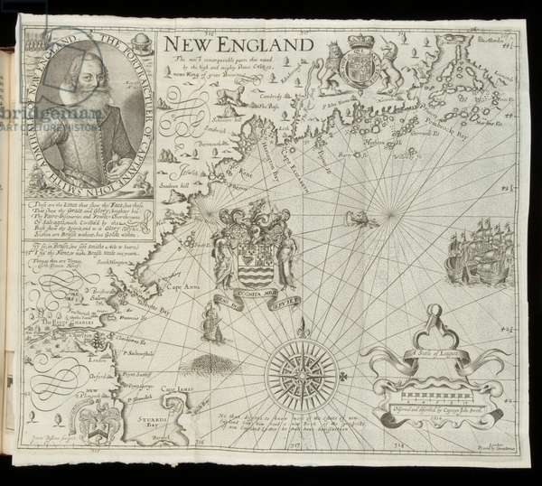 Map of New England, from 'Historia Mundi: or Mercator's Atlas', London, 1635 (engraving)