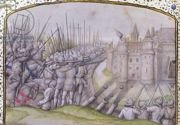 Ms 659 f.271 r. The Battle of Avray in 1364, 1477 (vellum)
