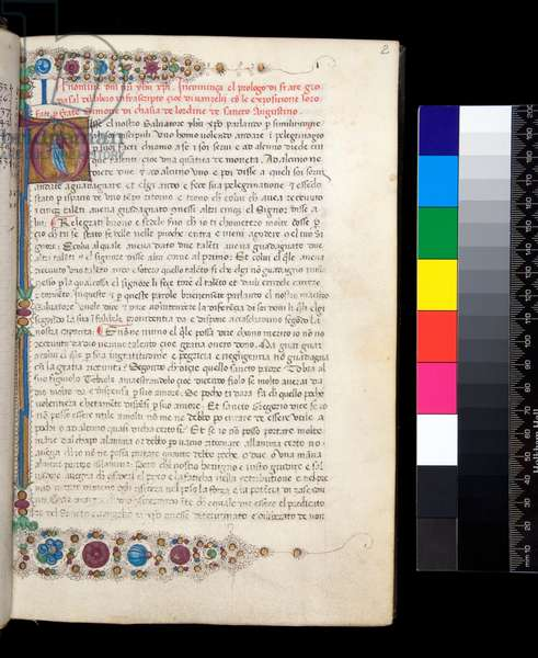 Ms 163. Giovanni da Salerno, Extracts in Italian transl. from Expositio super totum corpus Evangeliorum of Simone Fidati da Cascia, f.2r. Gothic hand, with illuminated inhabited initial [O] with illuminated border in floral design, 1480 (parchment)