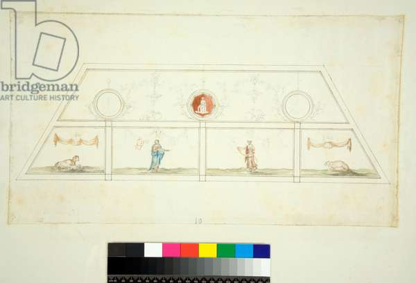 Vaulting of the Villa Madama (black chalk, some with pen and brown ink. coloured with w/c)