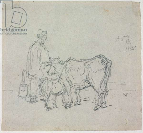 Study of Cattle, 1838 (pencil on paper)