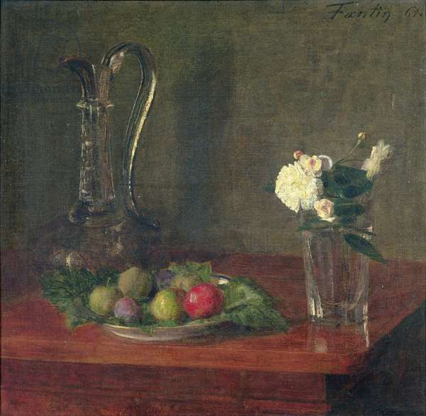 Still Life with Glass Jug, Fruit and Flowers, 1861 (oil on canvas)