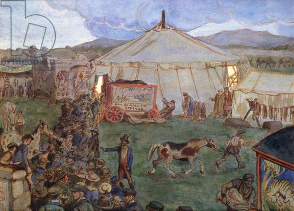 The Travelling Circus, 1906 (w/c on paper)
