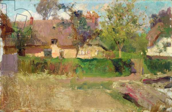 In an English Village (oil on board)