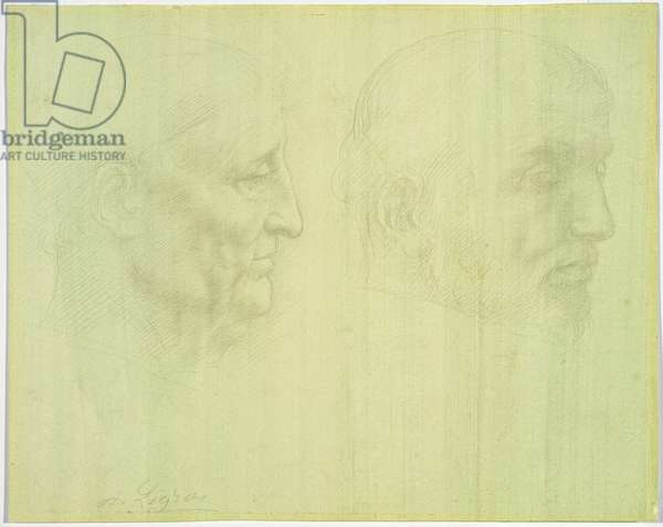 Study of Two Heads (silverpoint on paper)
